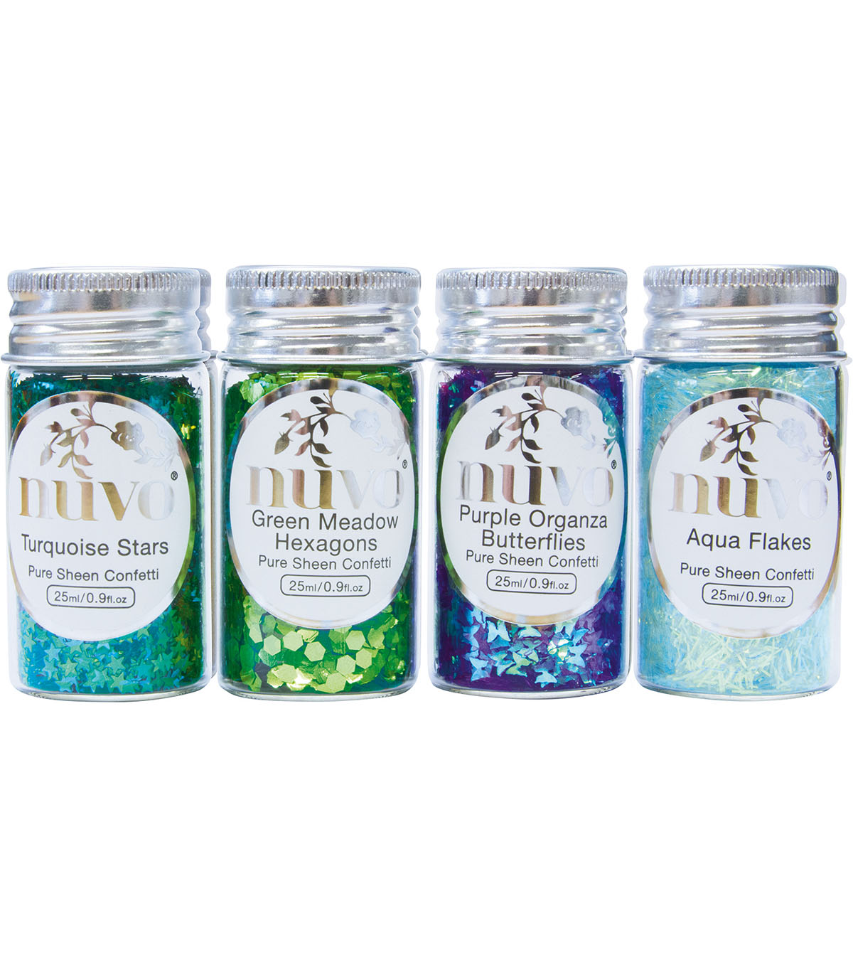 Nuvo Pure Sheen 4 pk Confetti-Peacock Feathers