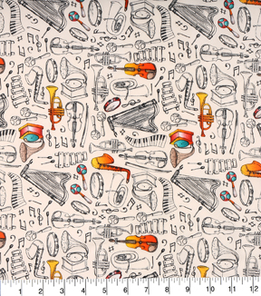 "Novelty Cotton Fabric 43""-Musical Instrument Sketch"