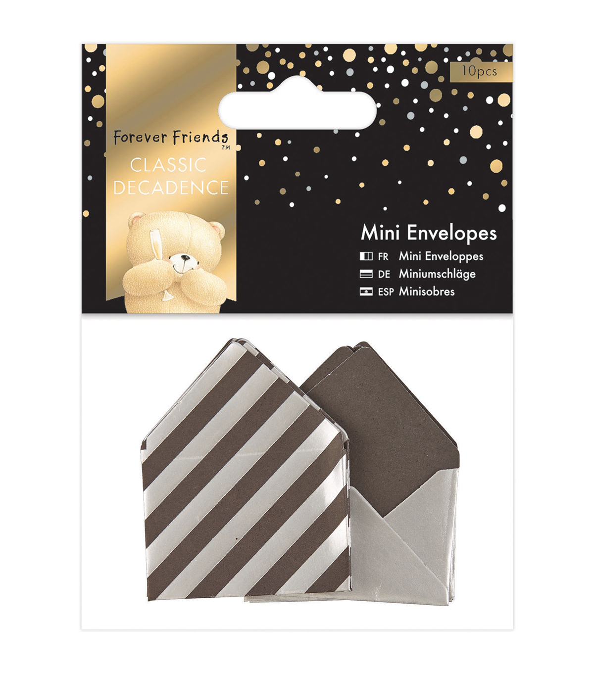 Docrafts Forever Friends Classic Decadence 10ct Mini Envelopes-Silver