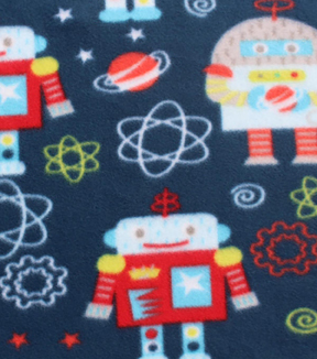 Blizzard Fleece Fabric-Space Robot