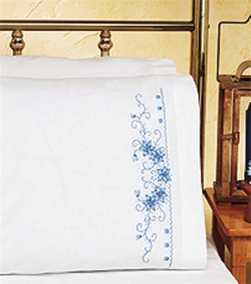 Blue Floral Pillowcase Pair Stamped Cross Stitch