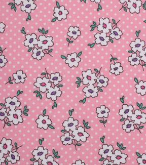 "1930's Cotton Fabric 43""-Simple Flower Dots Pink"