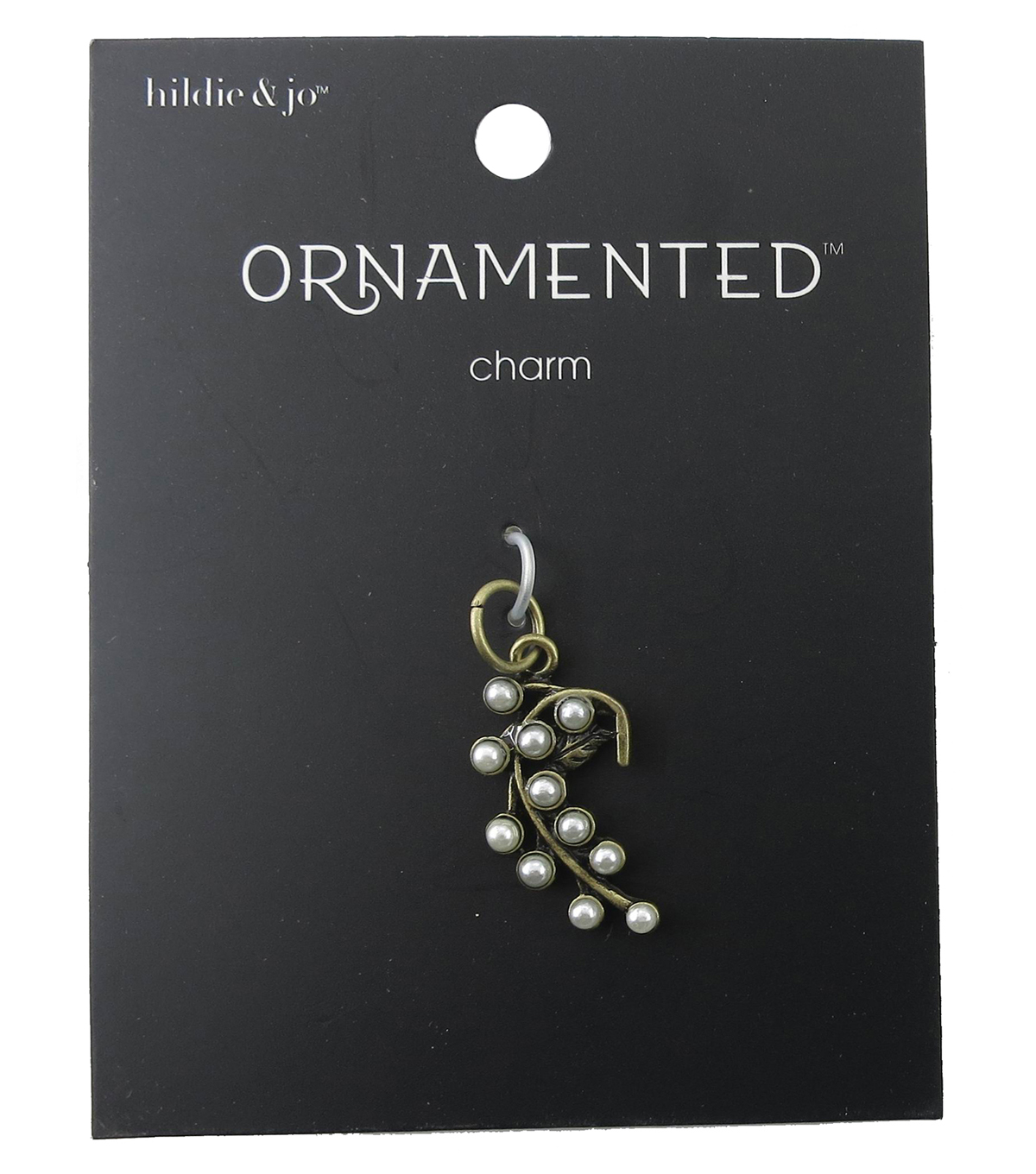hildie & jo™ Ornamented Leaves Antique Gold Charm-Pearls