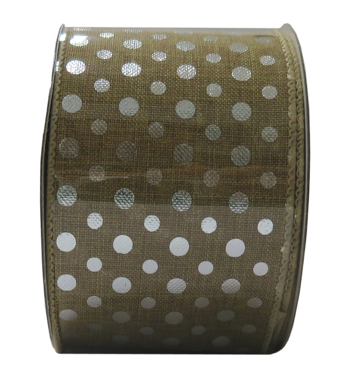 Decorative Ribbon 2.5\u0027\u0027 X 15\u0027-Silver Metallic Dot