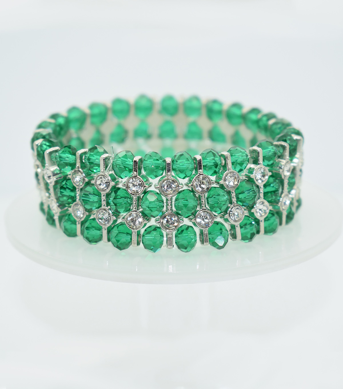 Glass Beads Spacer Bracelet-Teal