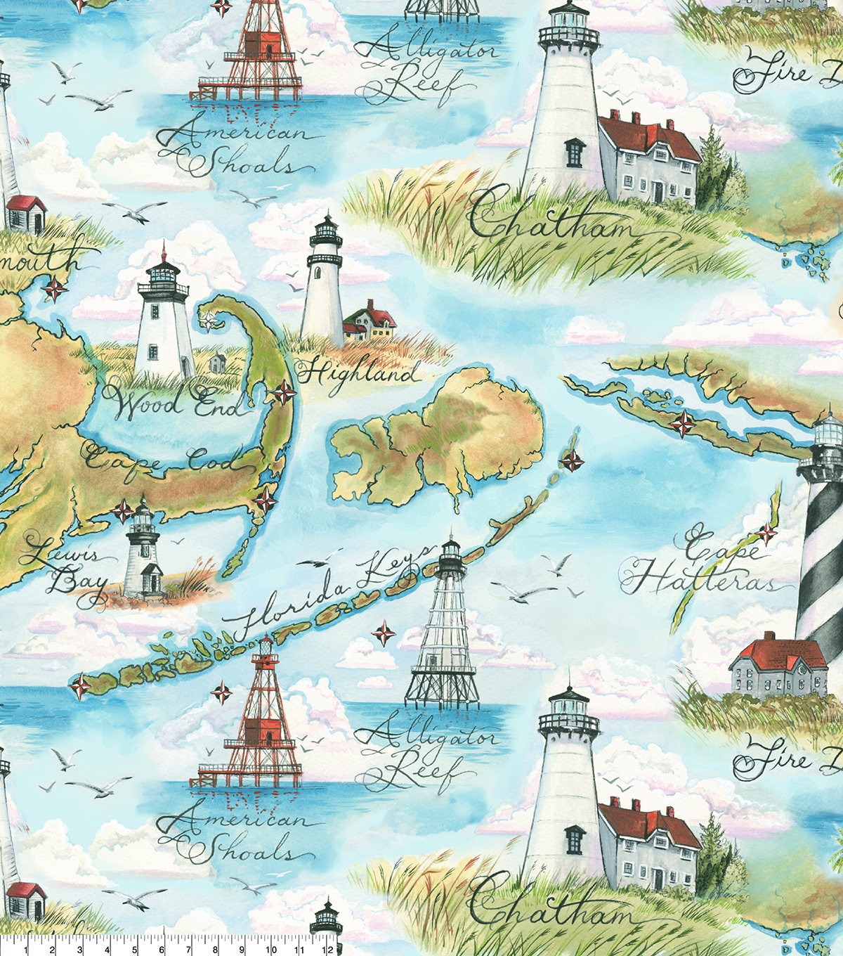 Anti-Pill Fleece Fabric 58\u0027\u0027-Beach Map