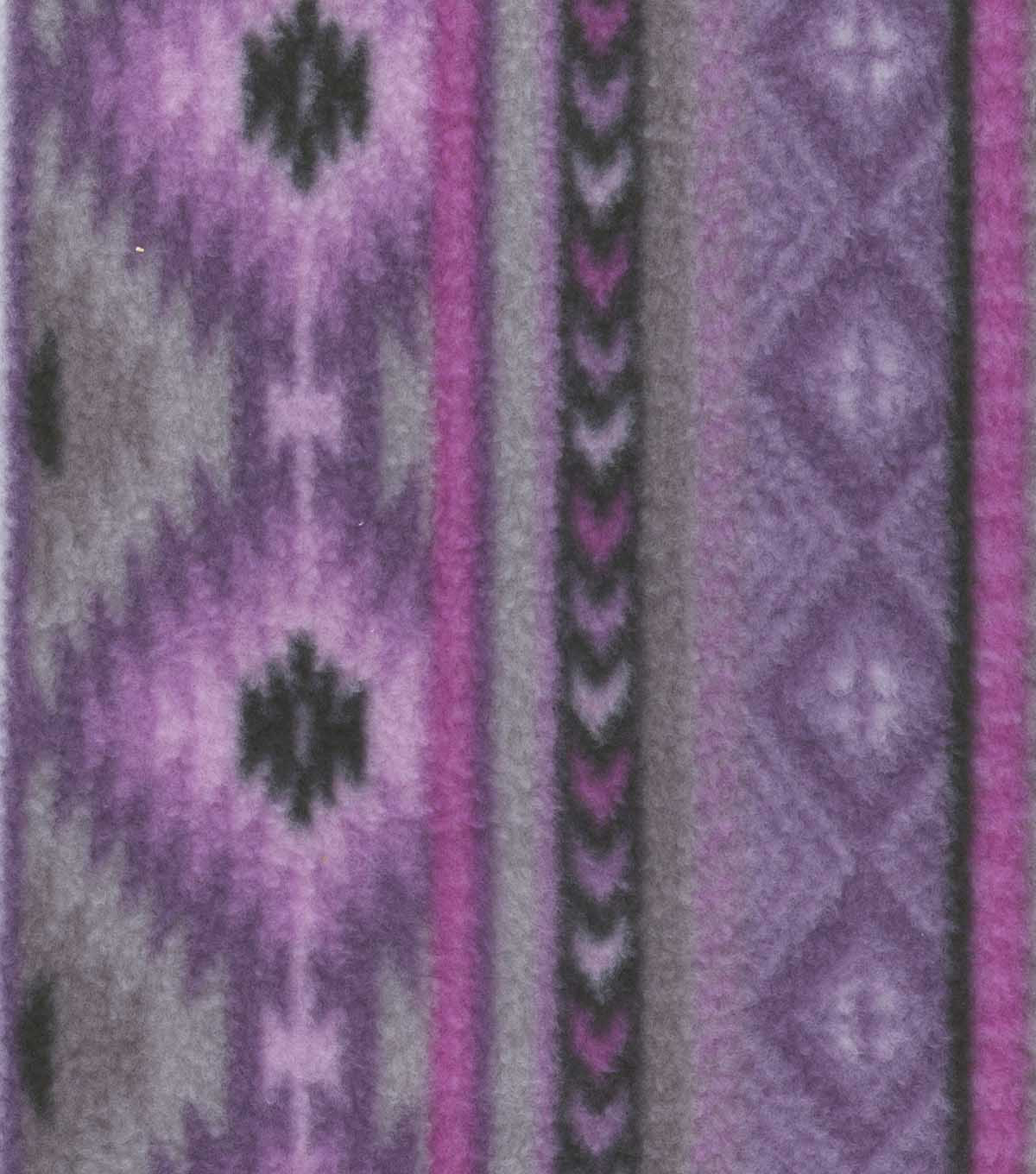 Anti-Pill Fleece Fabric 59\u0022-Orchid Aztec Stripe