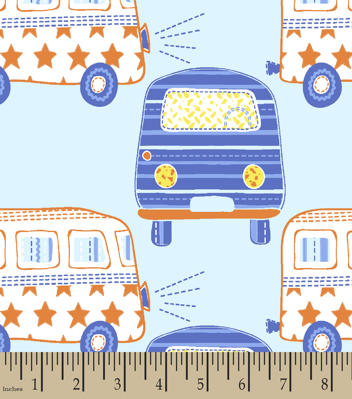 Blue Vintage Bus Print Fabric