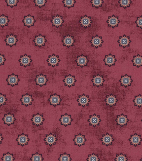 Vintage Cotton Fabric 43''-Intricate Circles on Red