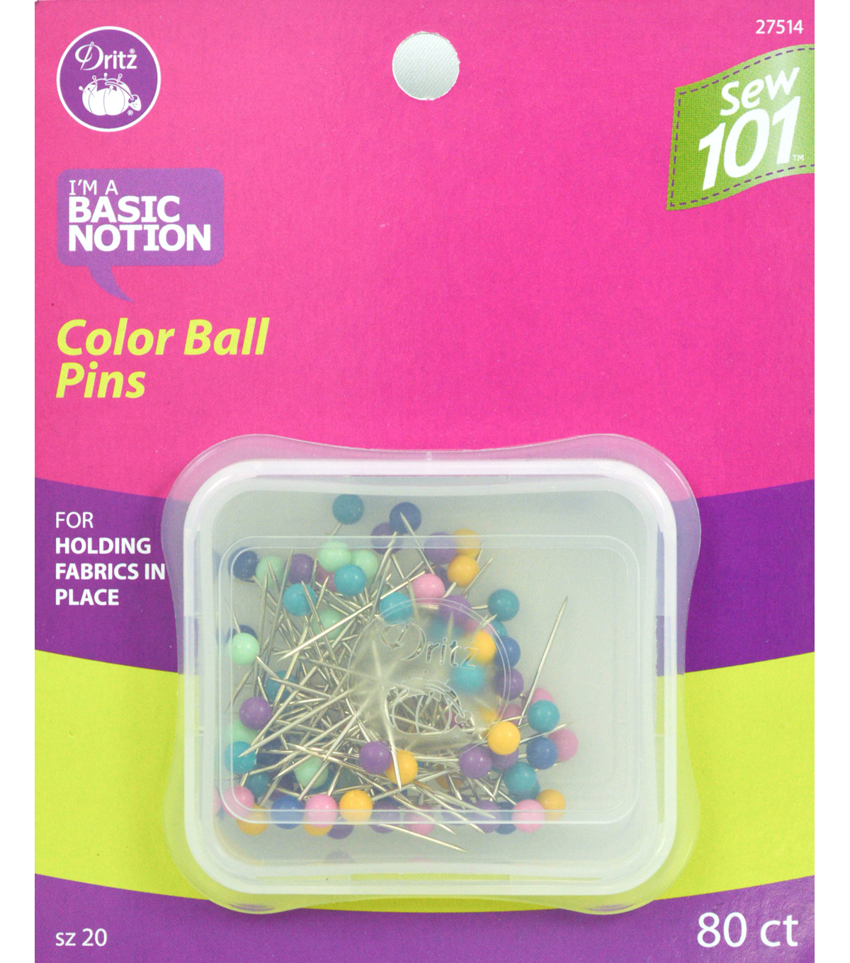 "Dritz 1.25"" Sewing 101 Color Ball Pins 80pcs Size20"