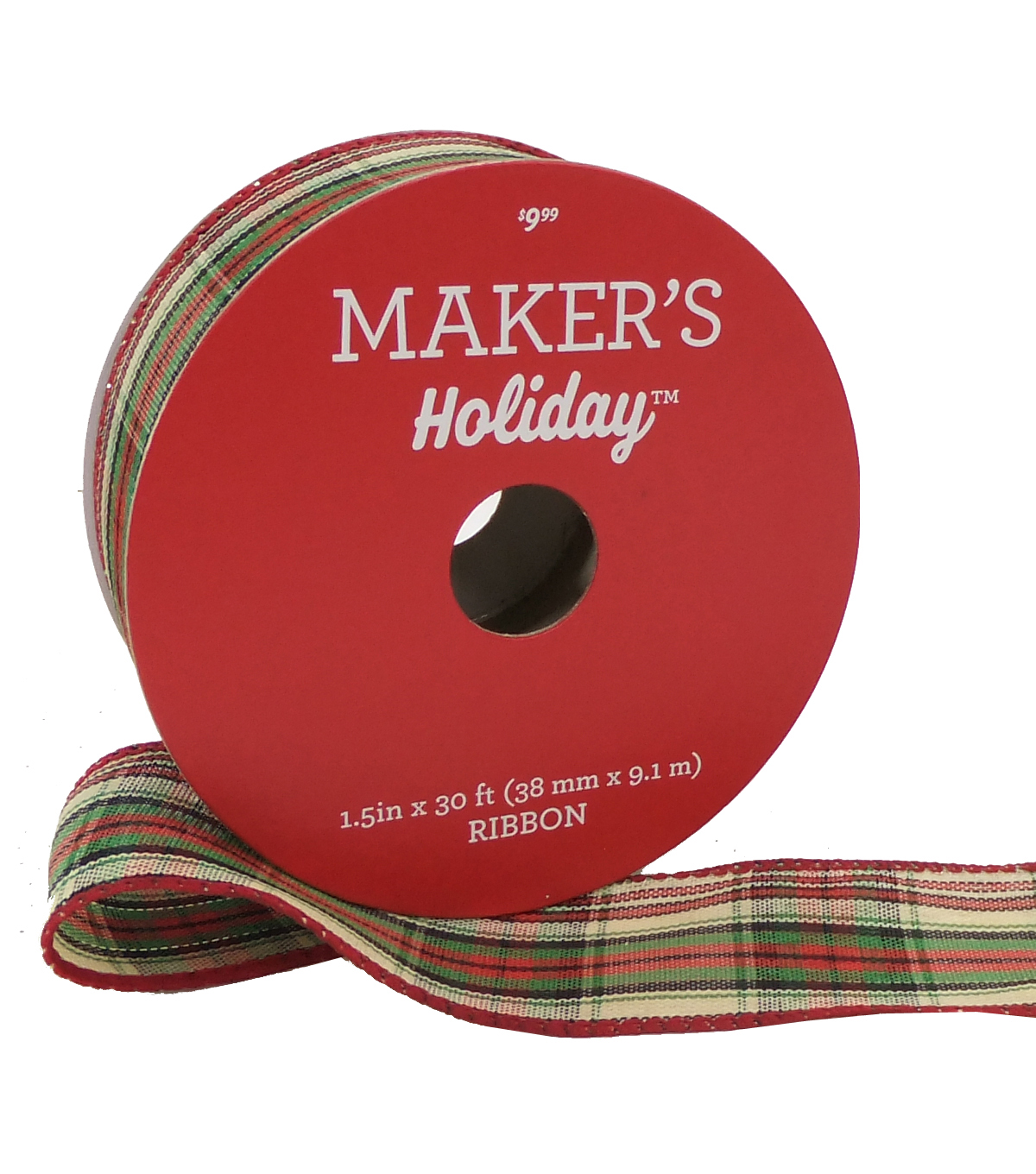 Maker\u0027s Holiday Christmas Ribbon 1.5\u0027\u0027x30\u0027-Beige, Red, Green Small Plaid
