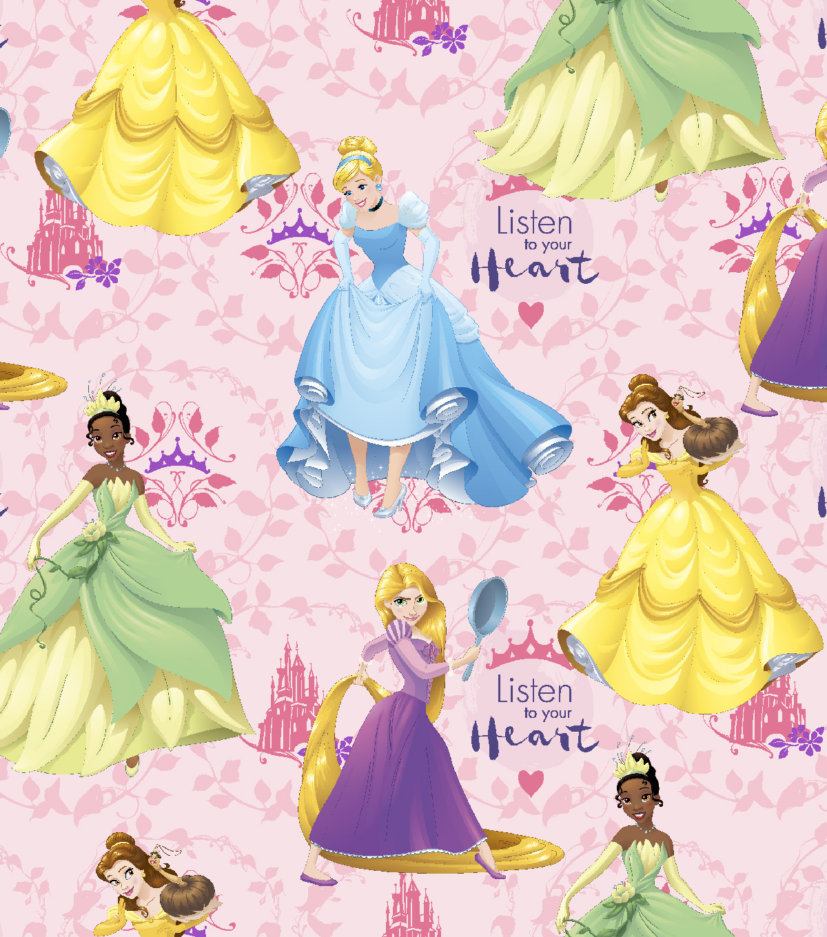 Disney® Princess Cotton Fabric 43\u0022-Multi Hearts