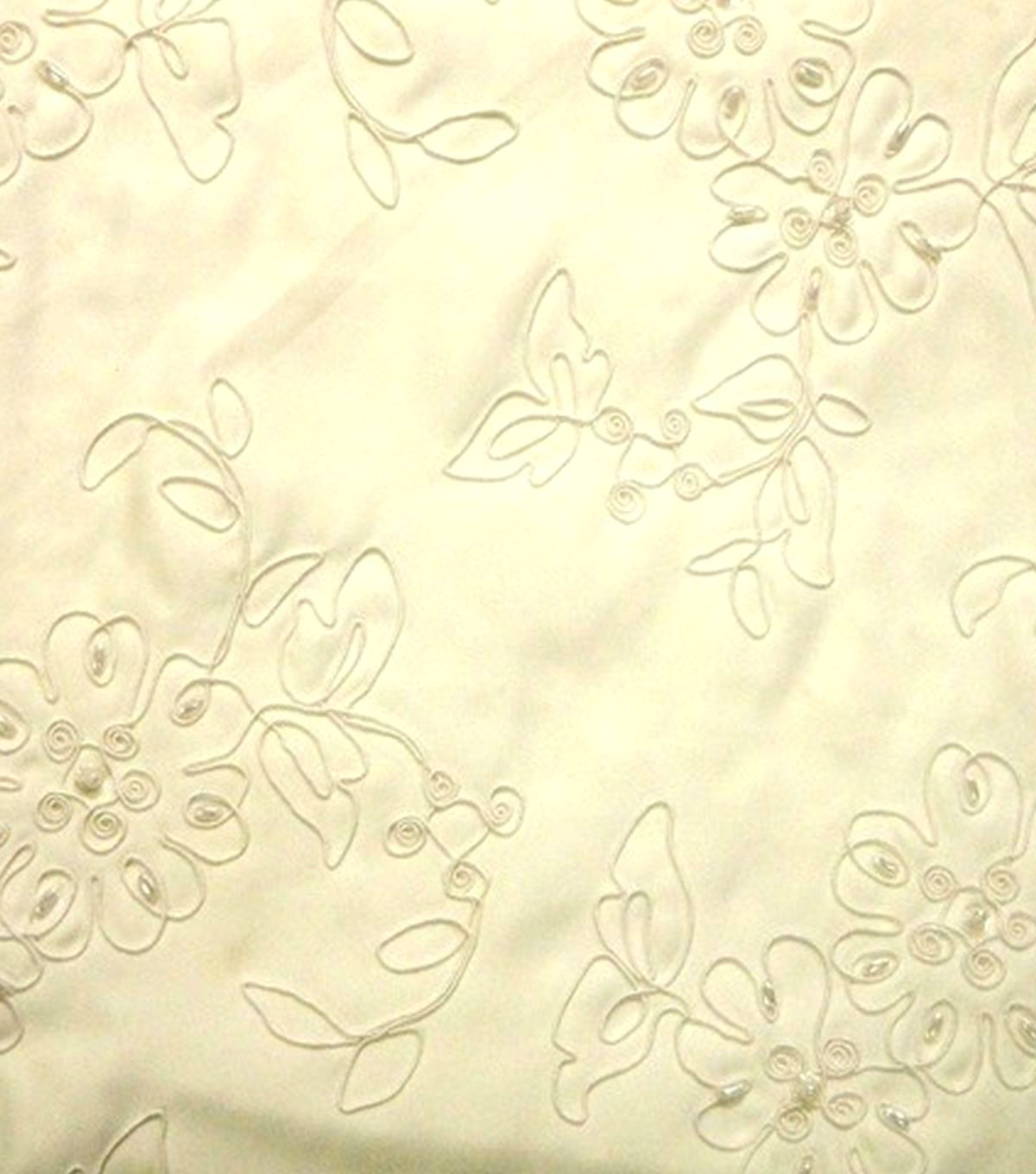 Designer Vault Bridal Fabric - Beaded Corded Satin Ivory