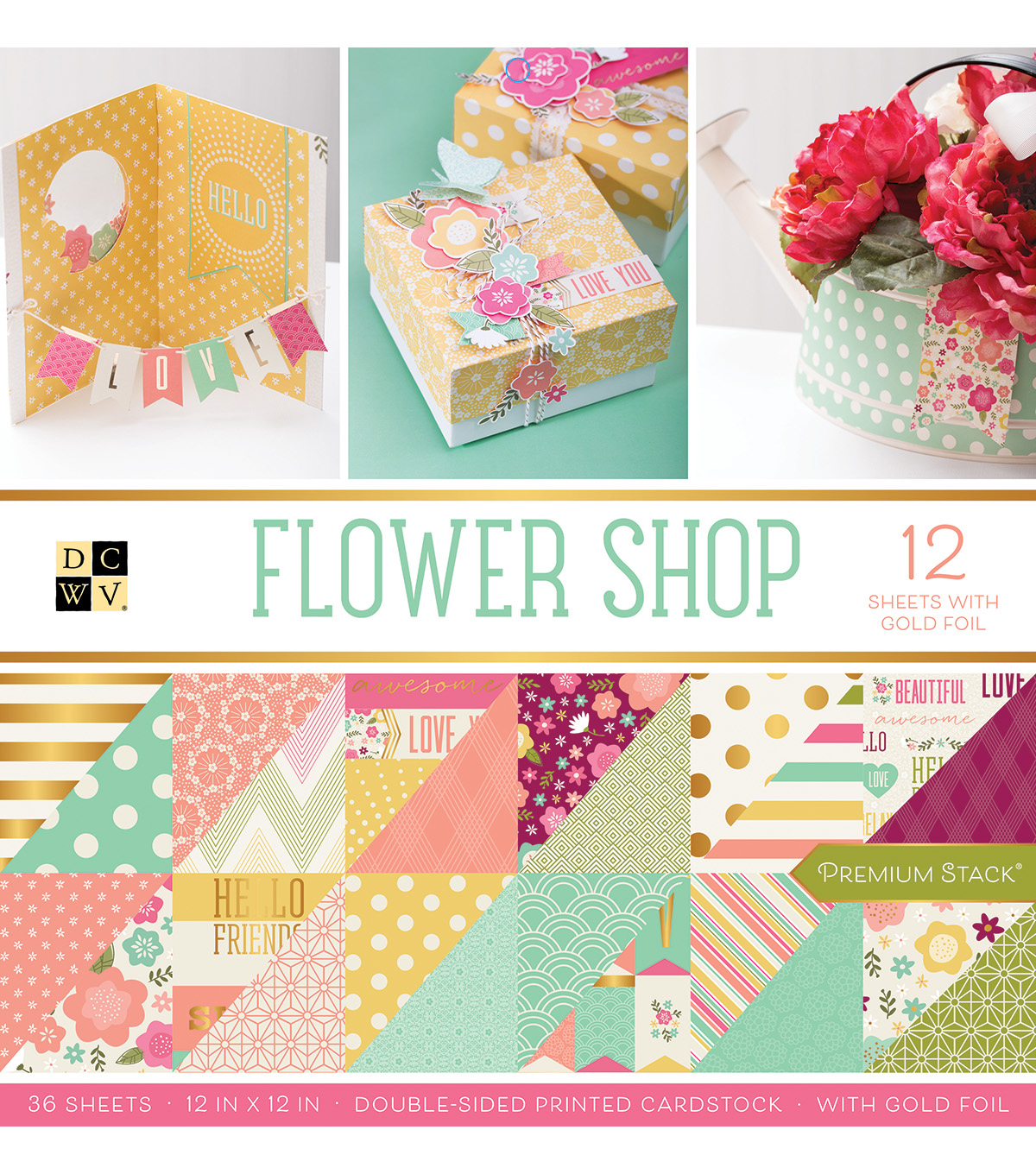 "DCWV 36 Pack 12""x12"" Premium Printed Cardstock Stack-Flower Shop"