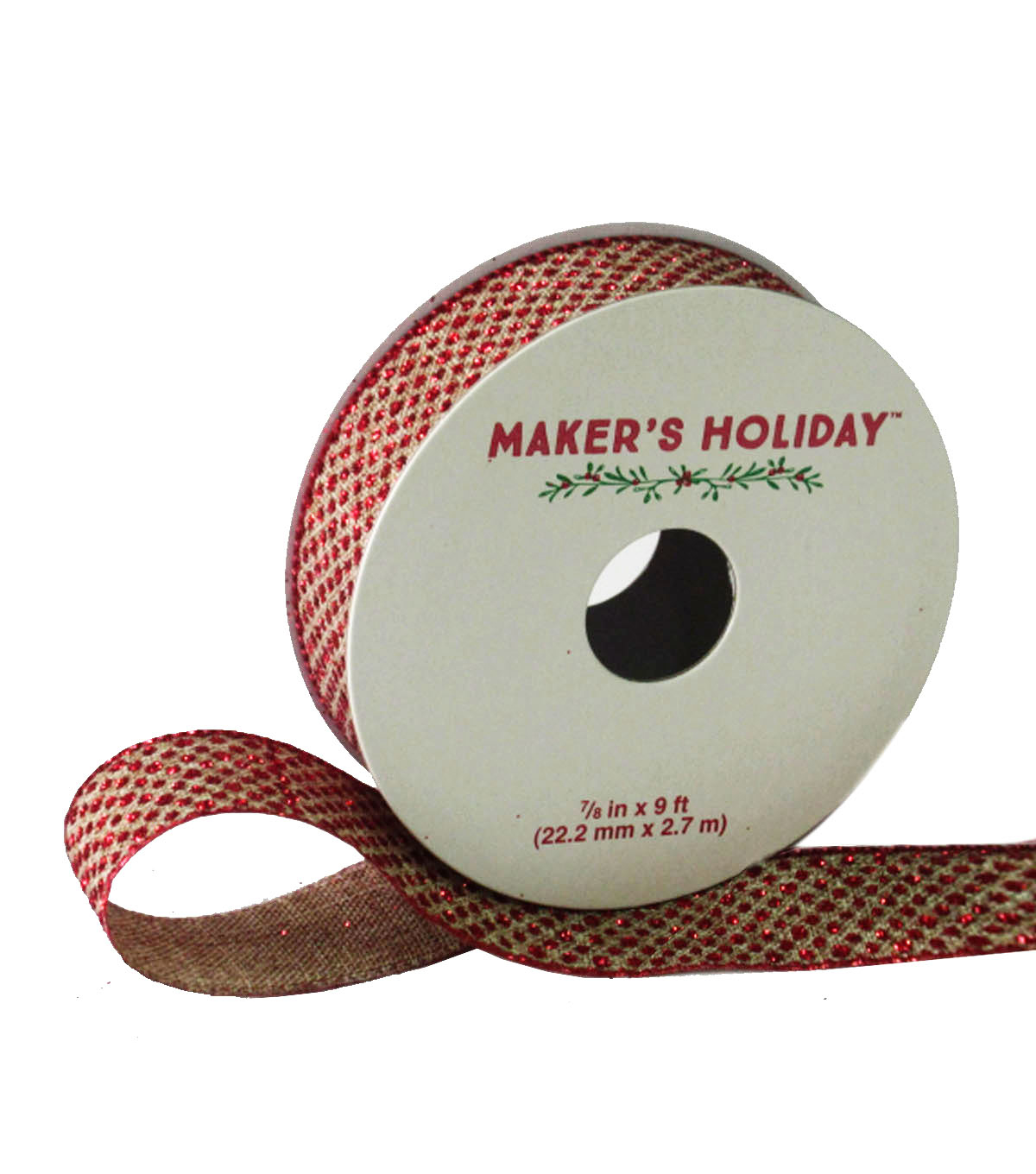 Maker\u0027s Holiday Linen Ribbon 7/8\u0027\u0027x9\u0027-Red Glitter Dot