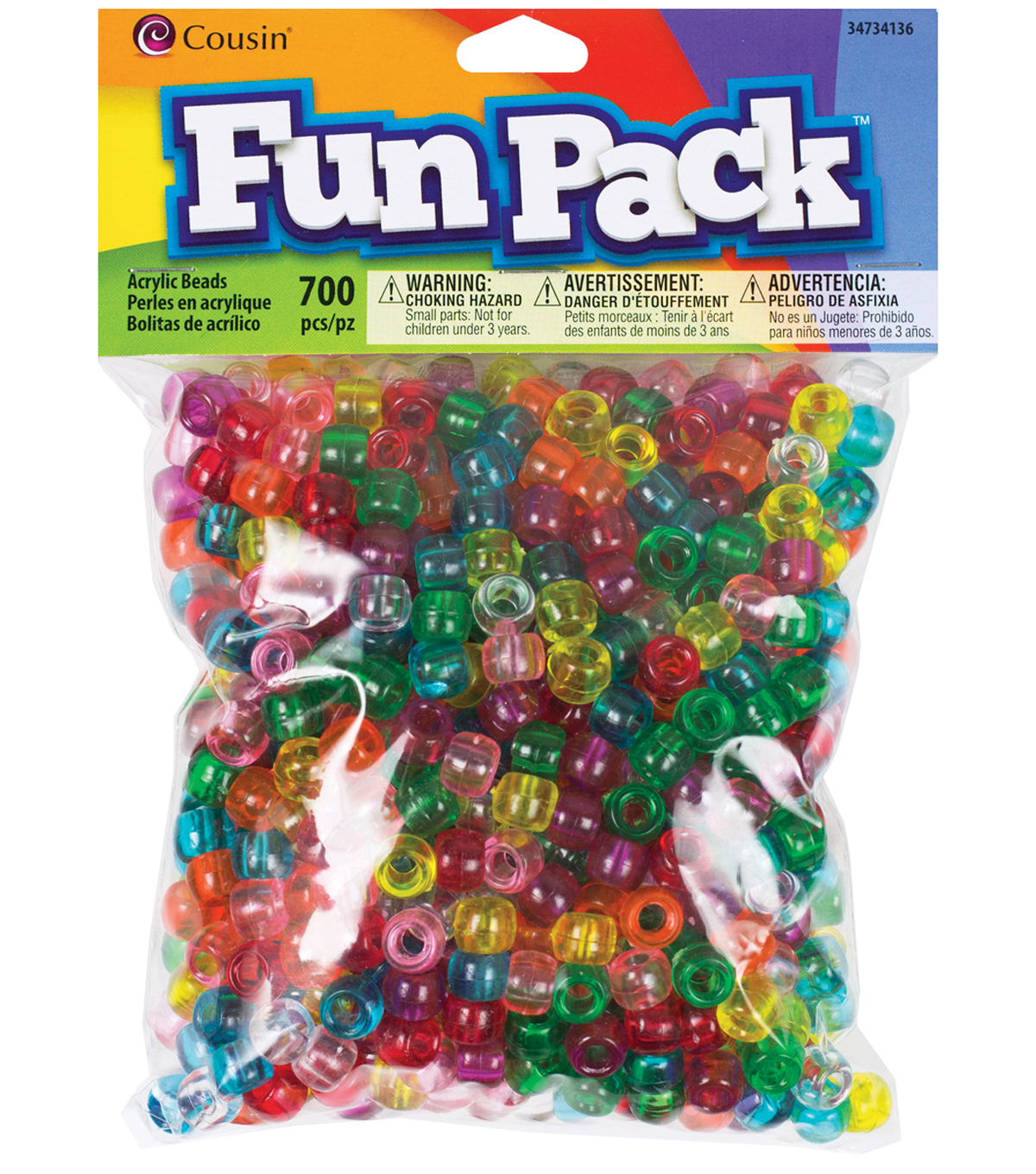 Fun Pack Pony Bead Mix 700/Pkg-Rainbow