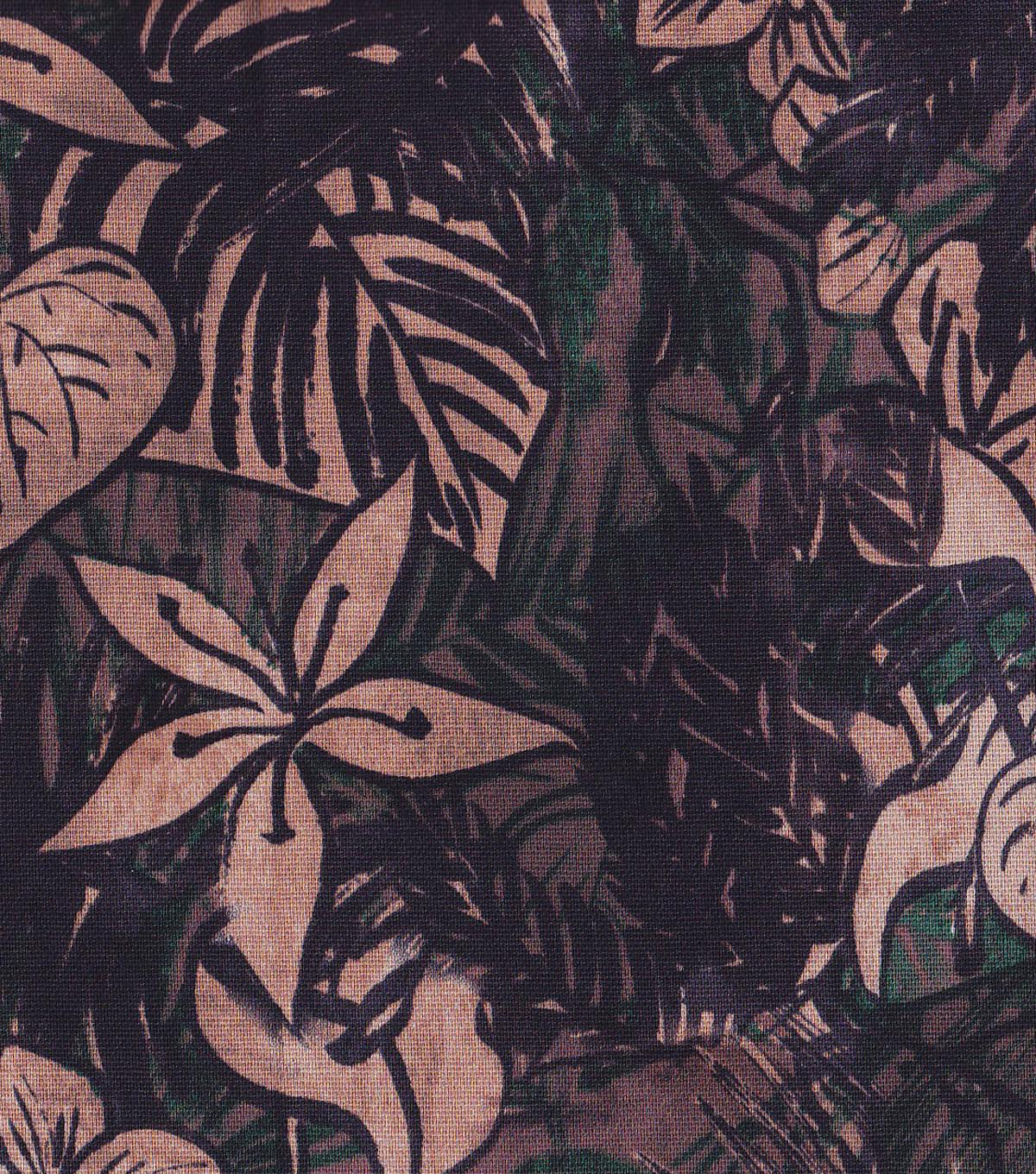 "Home Essentials 45"" Print Fabric-Black Neutral Floral"