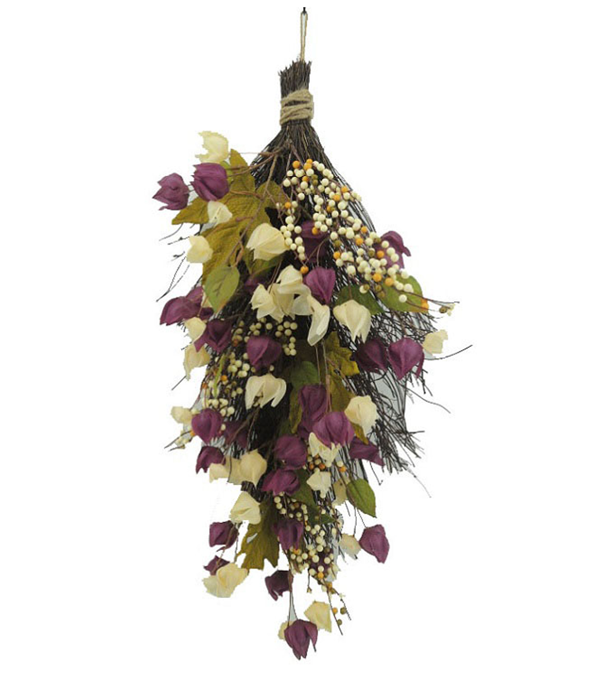Blooming Autumn 24\u0027\u0027 Lantern Floral Teardrop-Purple & Cream