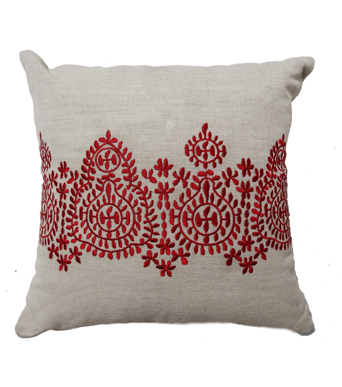 Hand Done Embroidered Pillow-Red