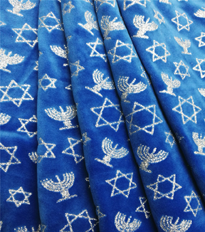 Sew Sweet Holiday Velvet Fabric 58\u0022-Hanukkah