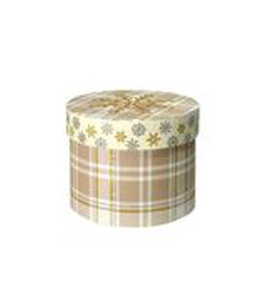 Maker\u0027s Holiday Small Round Box-Snowflake Plaid