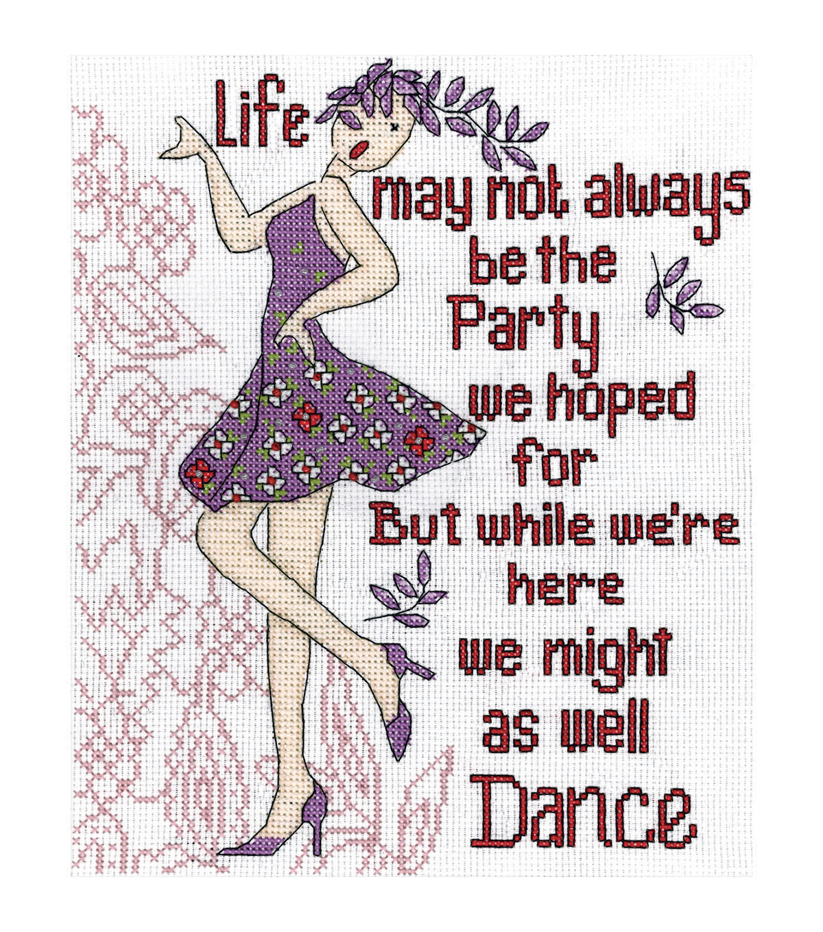 "Dance Party Counted Cross Stitch Kit-8""X10"" 14 Count"