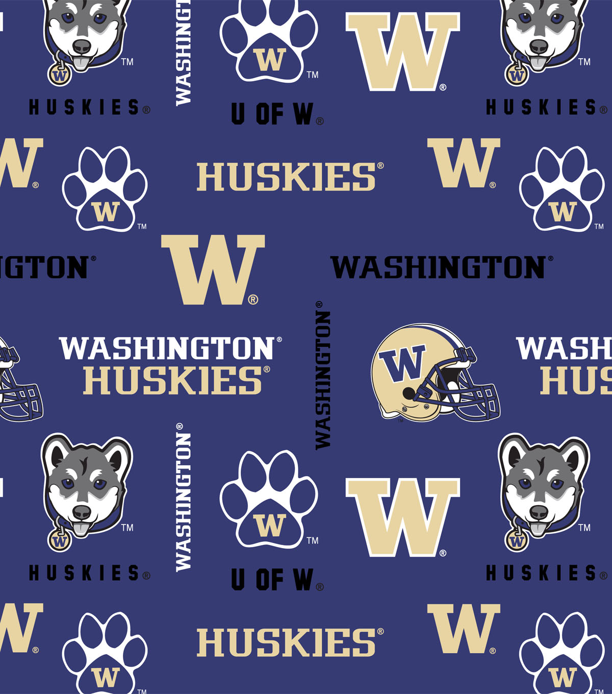 University of Washington Huskies Cotton Fabric 43\u0022-All Over