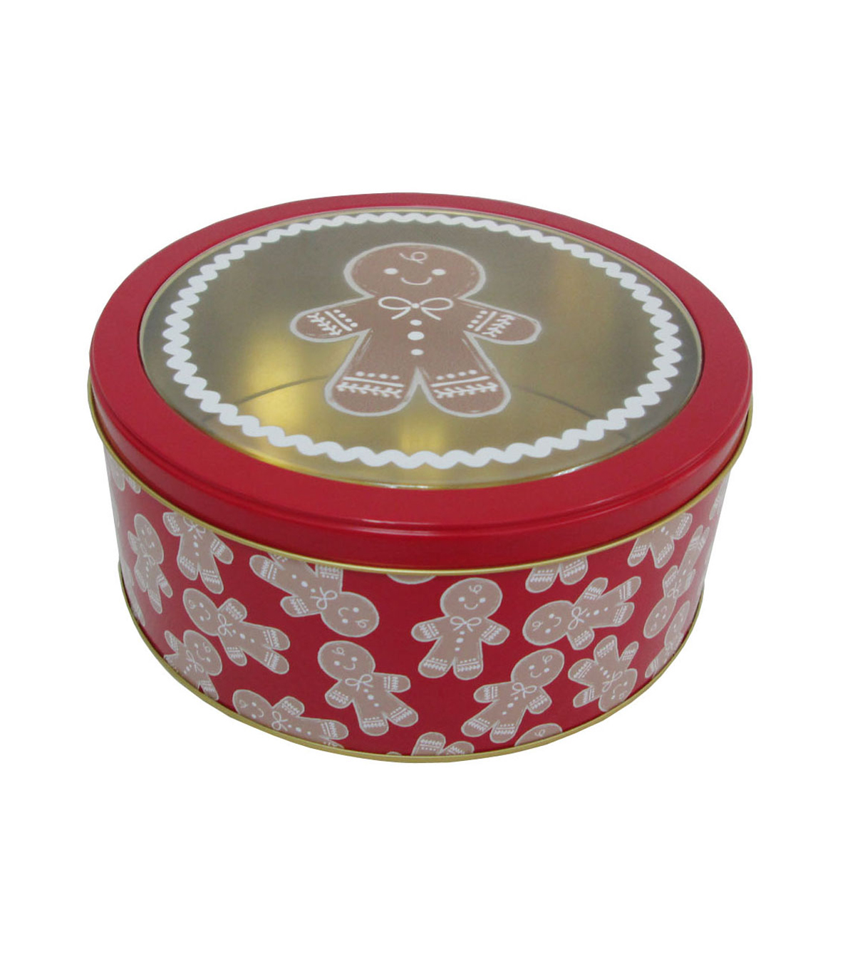 Maker\u0027s Holiday Medium Round Clear Top Cookie Container-Gingerbread