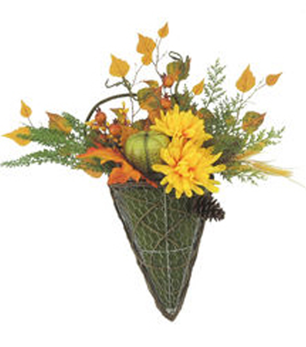 Blooming Autumn Mum, Pumpkin, Pomegranate  & Pinecone In Wall Basket