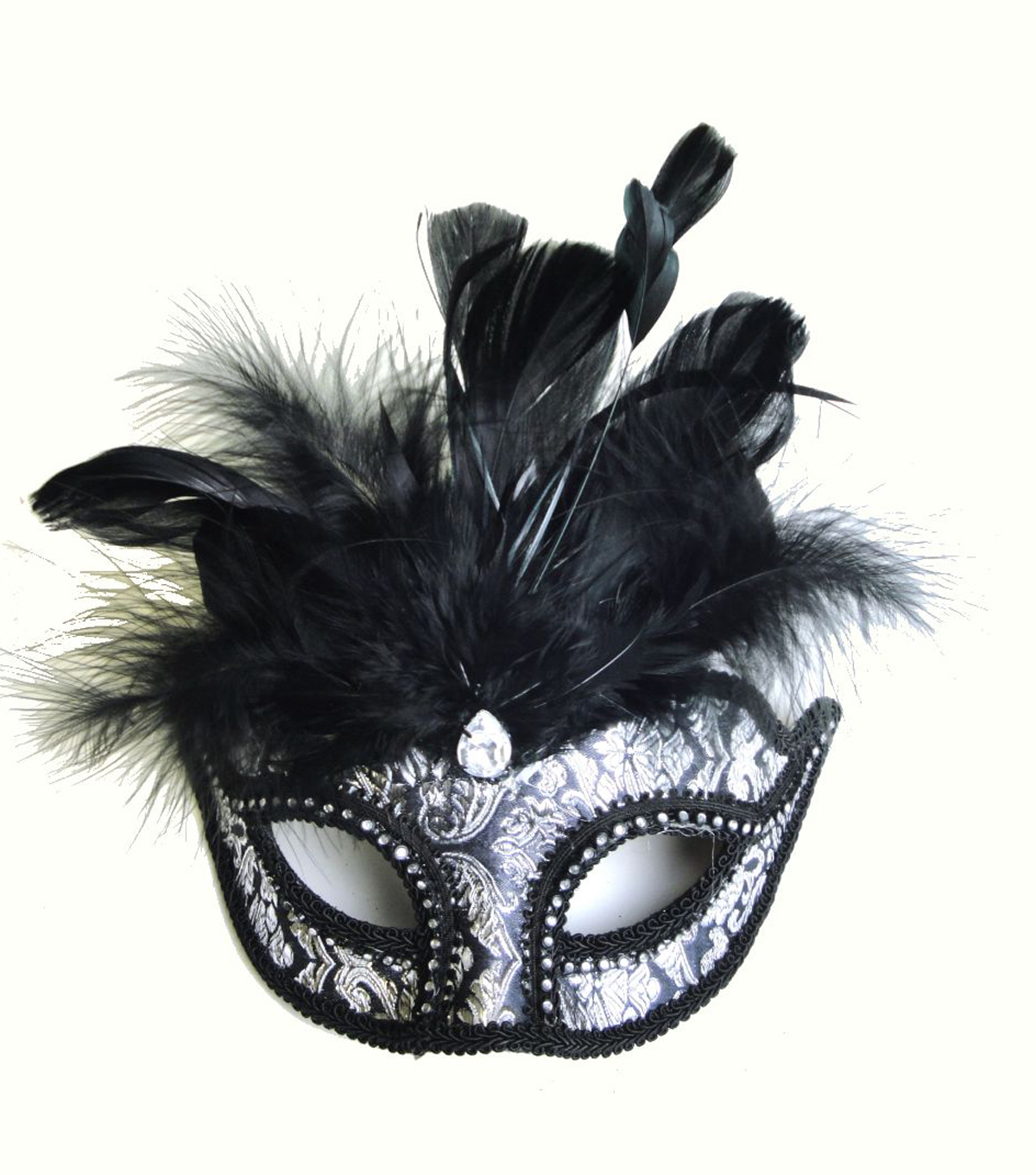 Maker\u0027s Halloween Brocade Mask with Feathers-Black & Silver