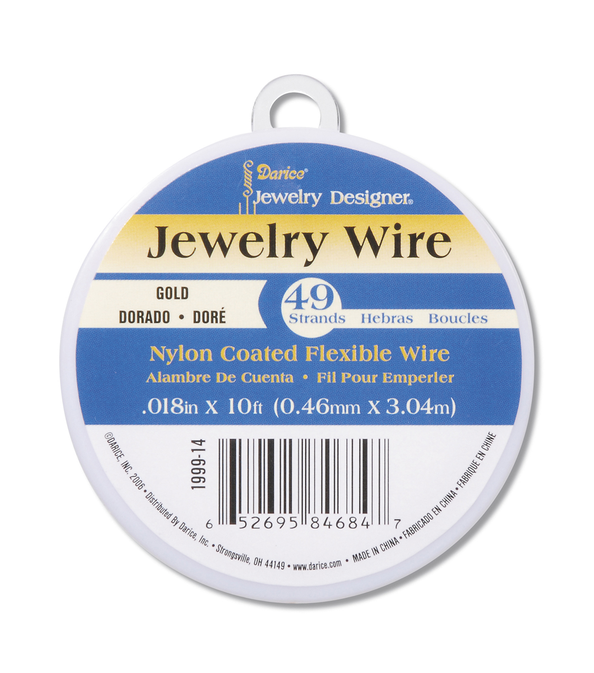 Gold Colored Nylon Coated Jewelry Wire, 49 strands, 10ft.