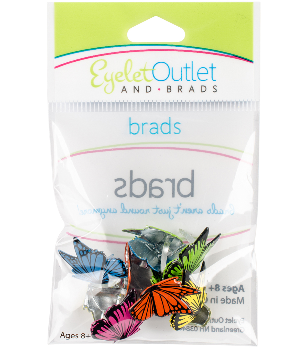 Eyelet Outlet Shape Brads-Flying Butterflies