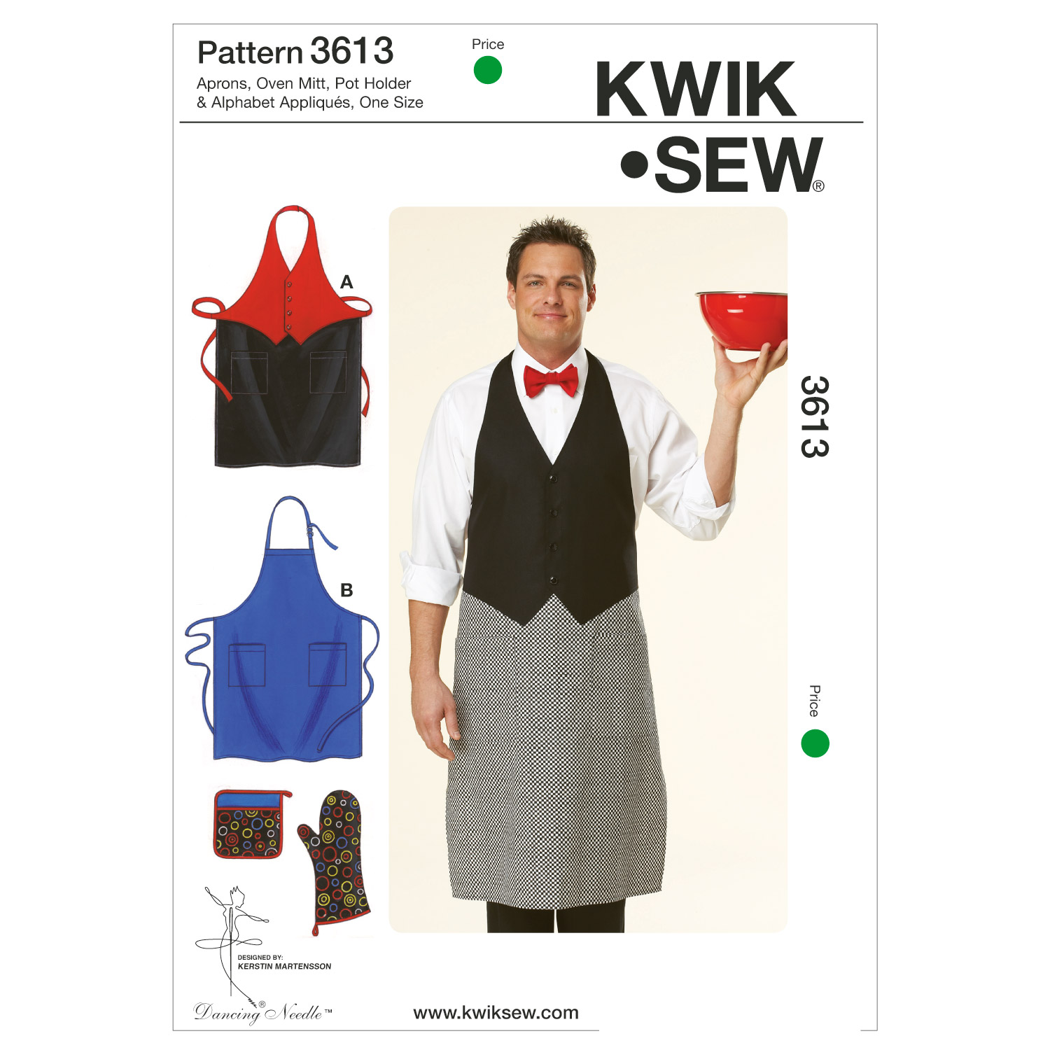 Kwik Sew Pattern K3613 Adult Apron, Mitts & Pot Holder