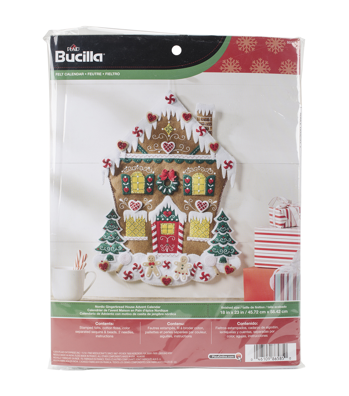 Bucilla Nordic Gingerbread House Felt Applique Kit
