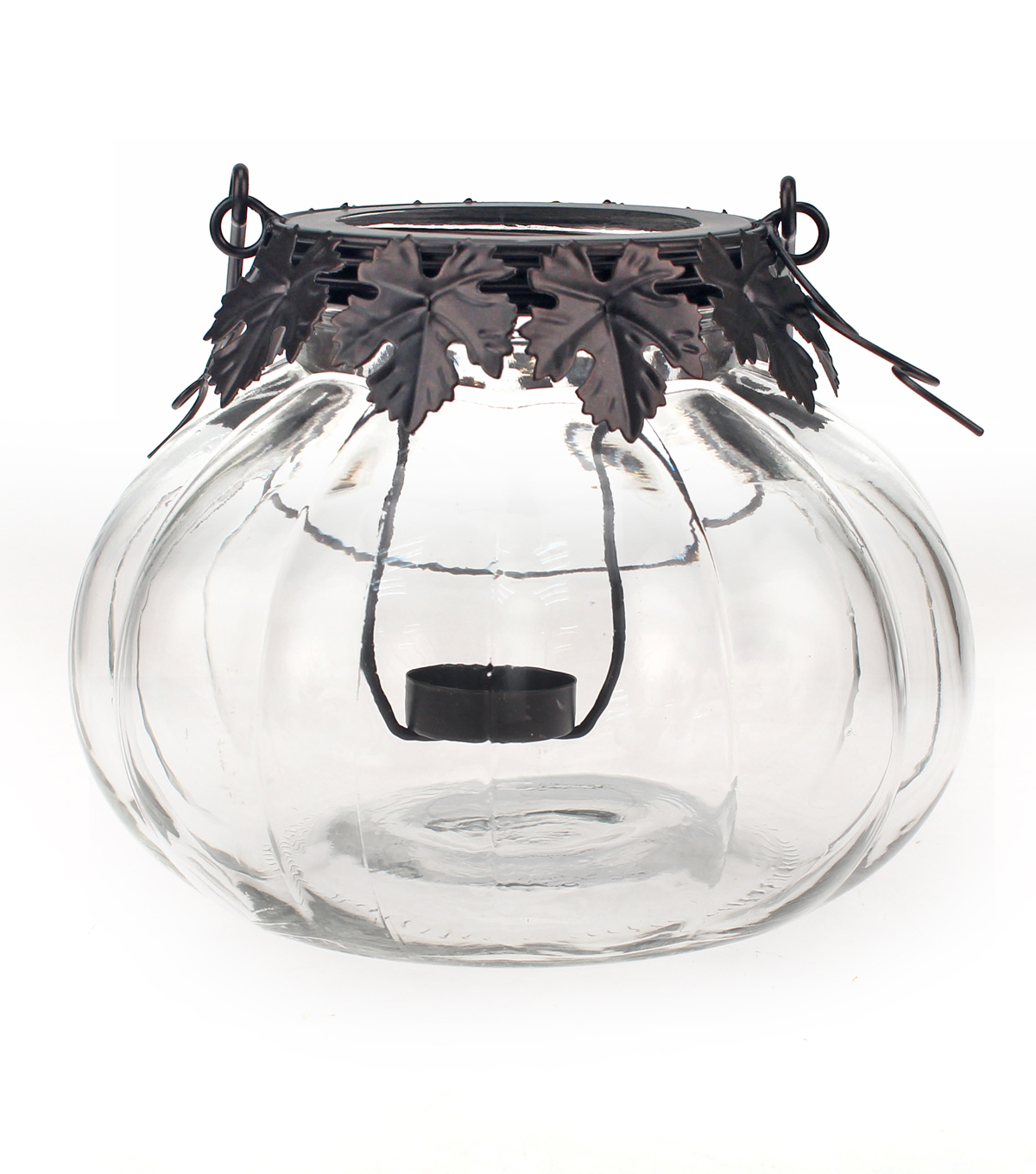 Fall Into Color Pumpkin Tealight Holder-Clear