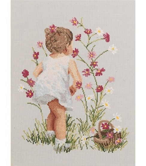 Janlynn Girl With Cosmos Cntd X-Stitch Kit