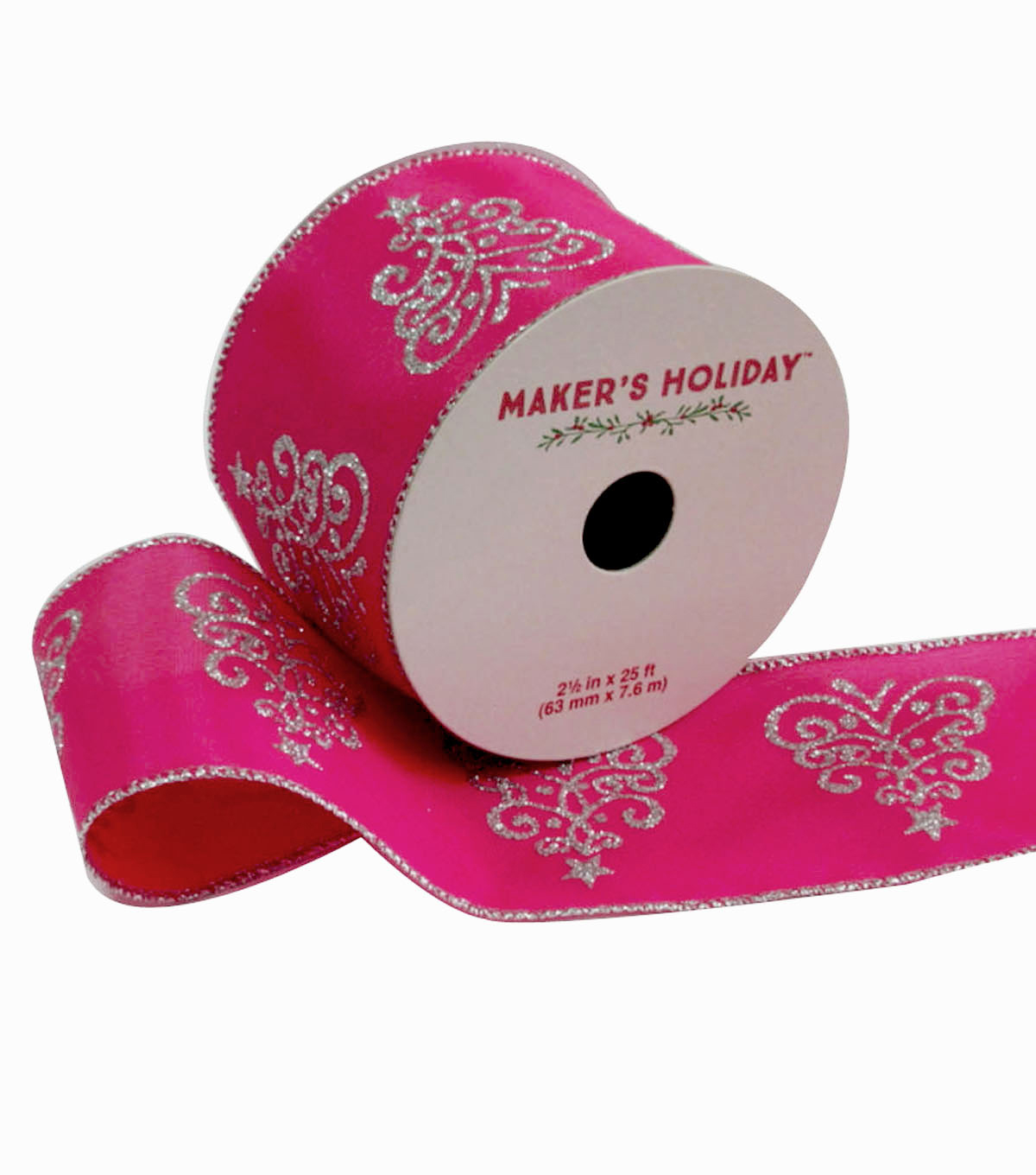 Maker\u0027s Holiday Satin Ribbon 2.5\u0027\u0027x25\u0027-Silver & Pink Trees