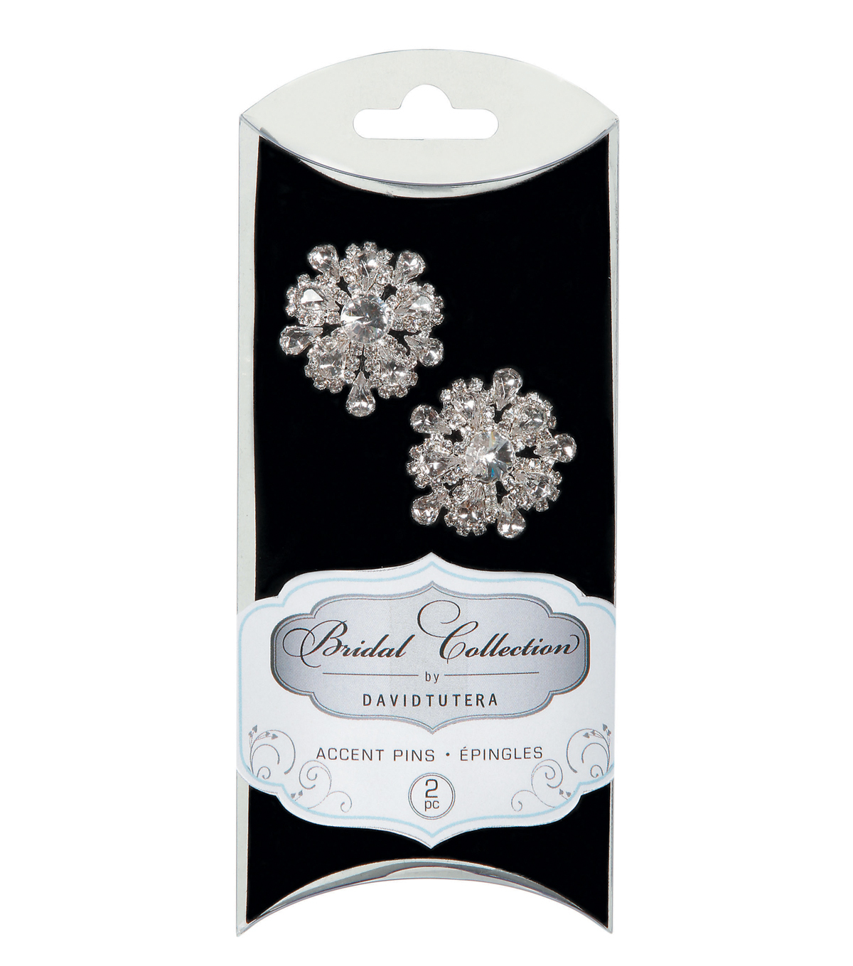David Tutera Two Rhinestone Pins, 2/Pk