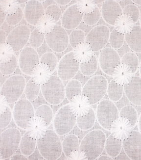 Azure Tide Pool Embroidered Cotton Fabric-Ditsy Floral White