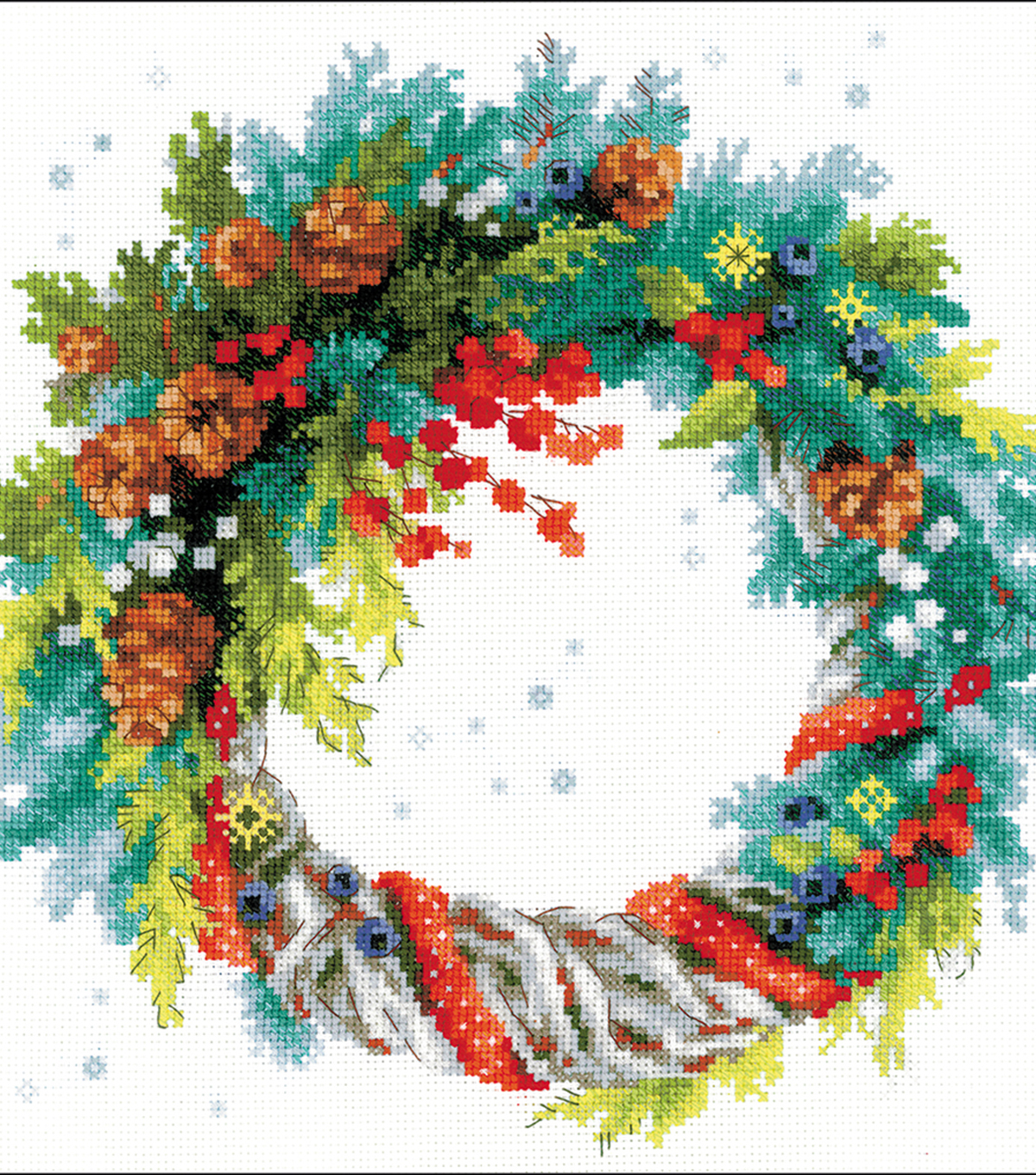 Wreath w/Blue Spruce Counted Cross Stitch Kit 14 Count