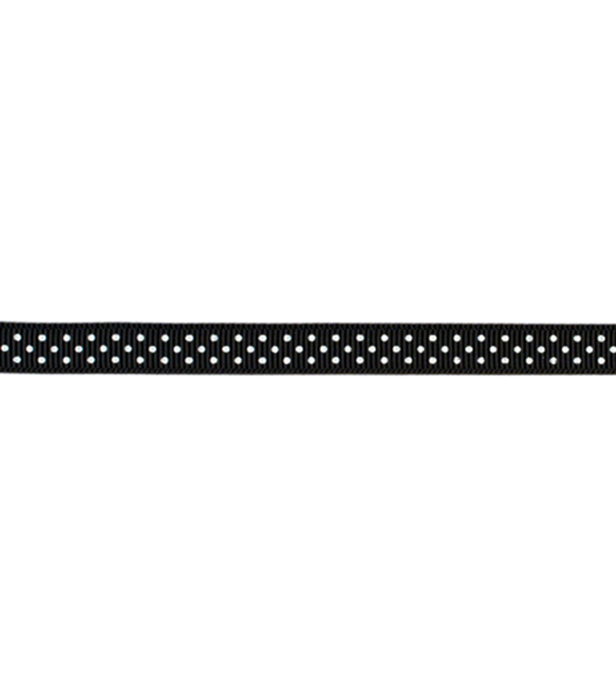 Grosgrain With Dots Ribbon .375\u0022 5 Yards-Black With White