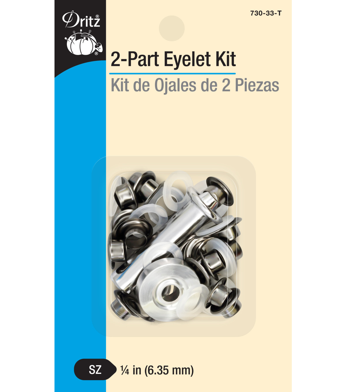 Dritz 1/4\u0022 2-Part Eyelet Kit-Gunmetal