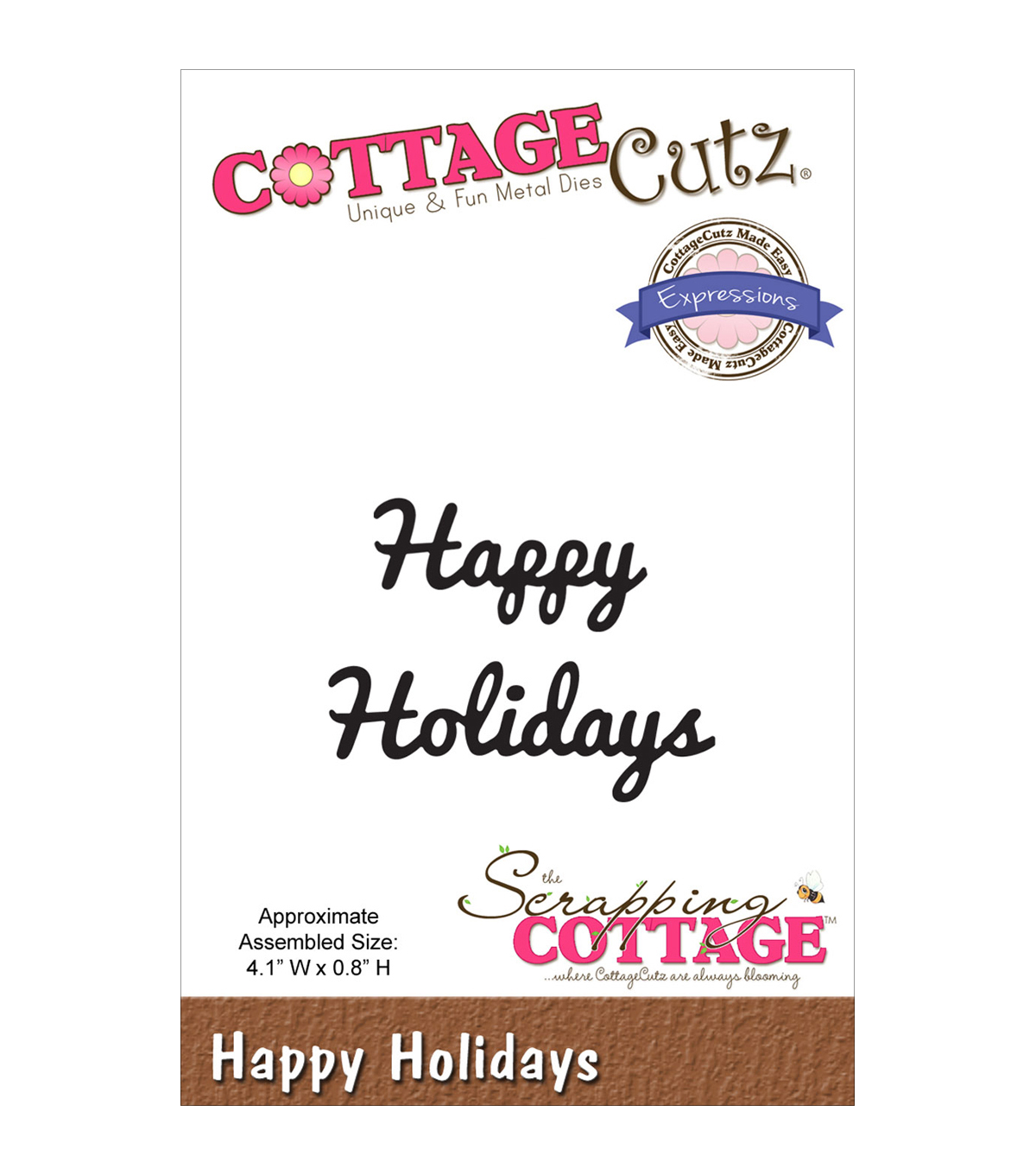 CottageCutz Expressions Happy Holidays Dies