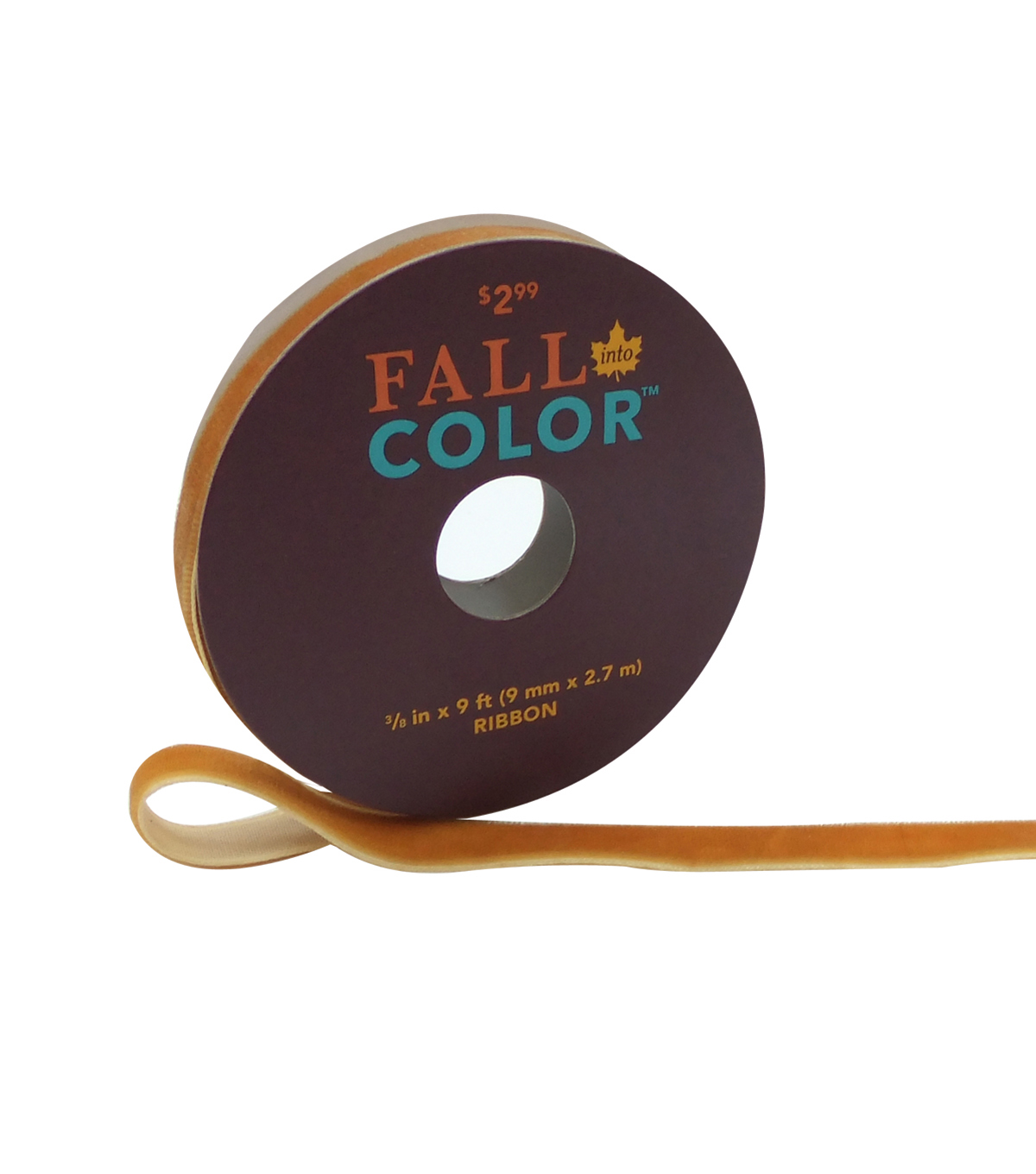 Fall Into Color Velvet Ribbon 3/8\u0027\u0027x9\u0027-Orange