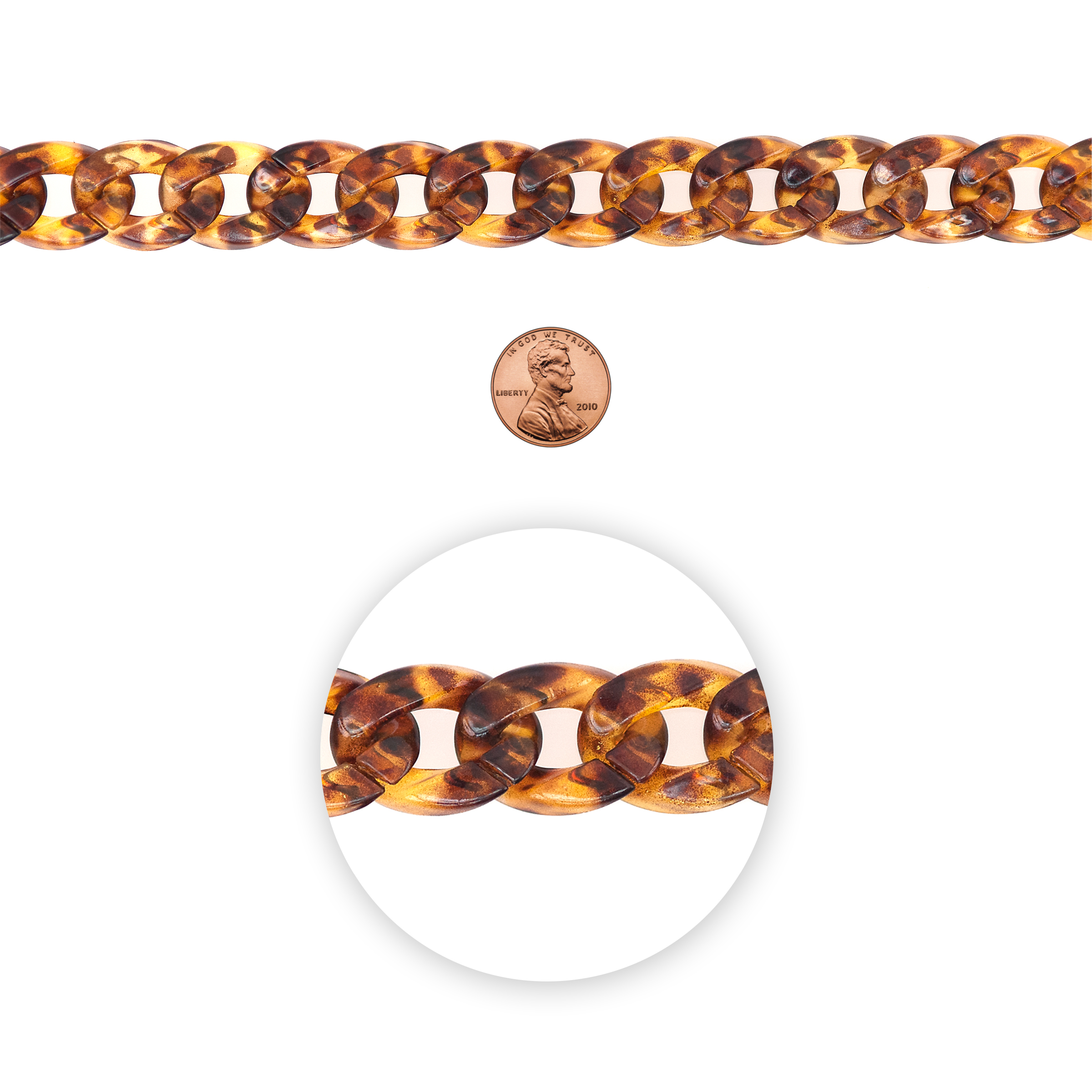 Blue Moon Beads Chain, Curb Link, Tortoise Shell Acrylic, Brown tones