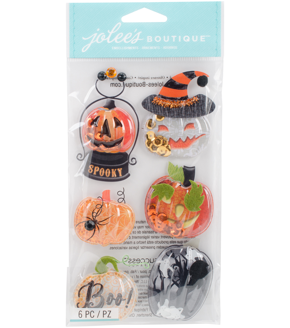 Jolee's Boutique Dimensional Stickers-Pumpkin Snow Globes