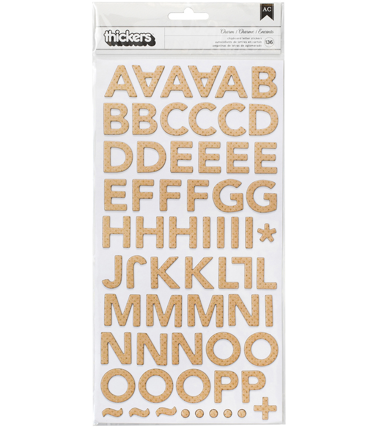 "Oasis Thickers Stickers 5.5""X11""-Charm Alpha/Glittered Chipboard"