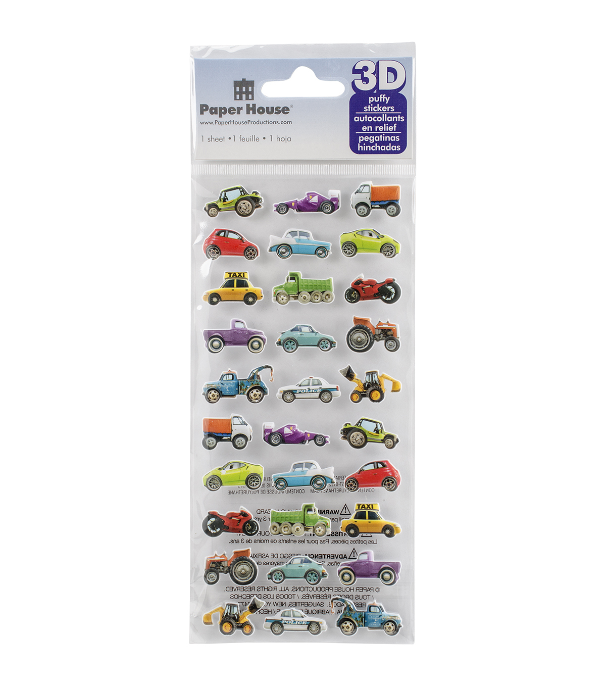 Paper House® Puffy Stickers-Mini Mixed Cars