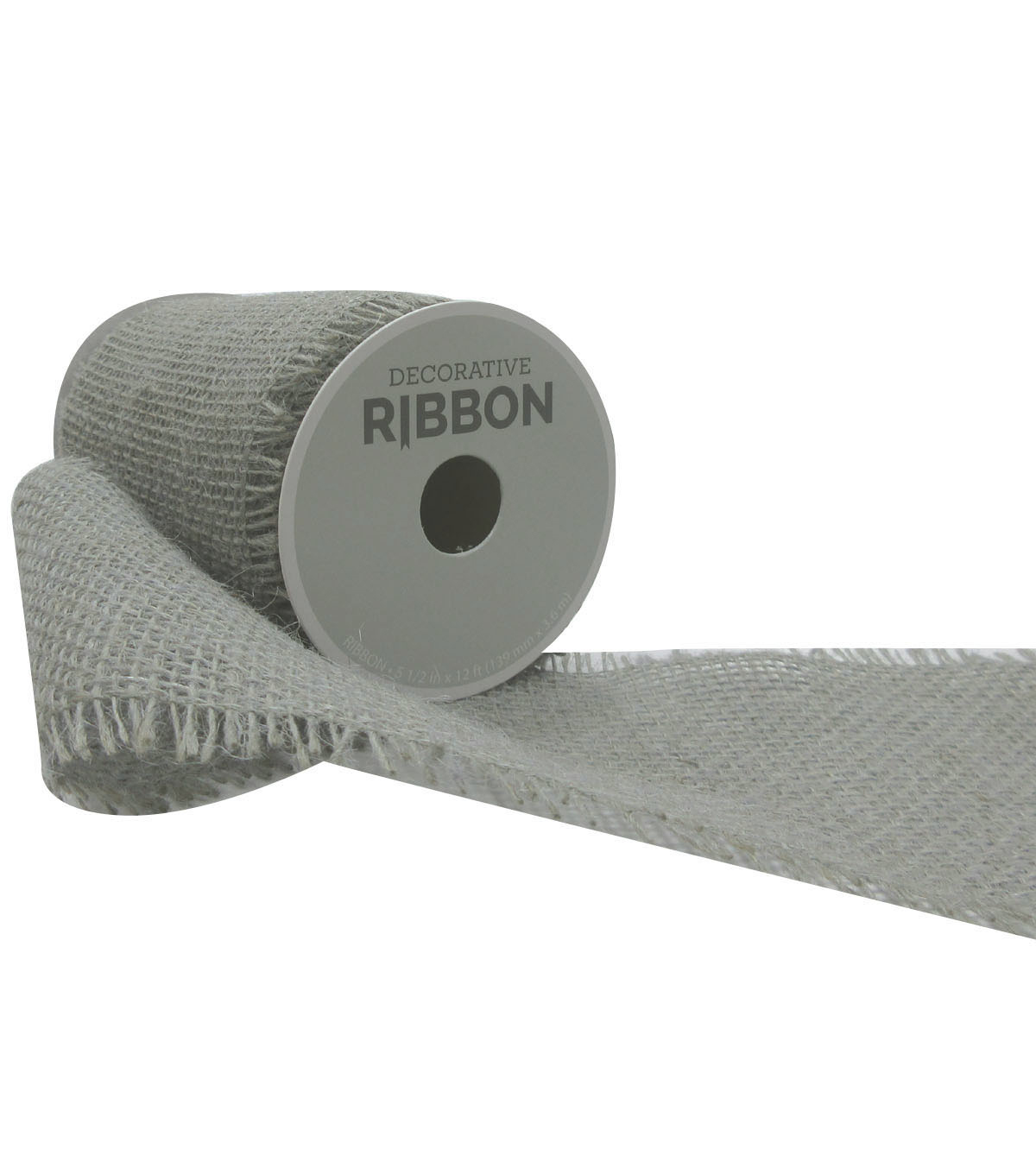 Decorative Ribbon 5.5\u0027\u0027x12\u0027 Brush Burlap-Gray