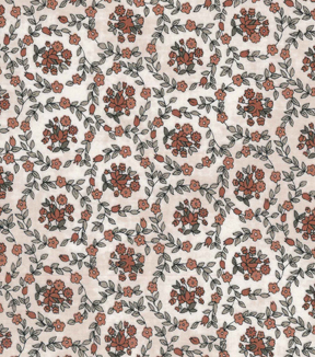Vintage Cotton Fabric 43''-Orange Floral Circles on Ivory